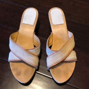 Coach Wood & Suede Kitten Heel Sandals